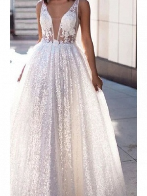 A-Line Wedding Dresses Scoop Neck Sweep \ Brush Train Lace Tulle Sleeveless Beach Sexy See-Through_3