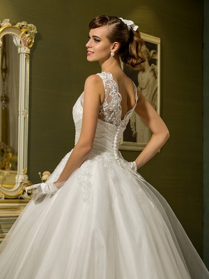 A-Line Wedding Dresses High Neck Ankle Length Lace Over Tulle Regular Straps Vintage Little White Dress Illusion Detail_6