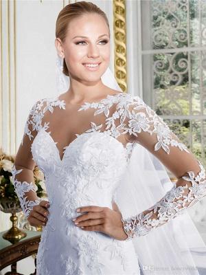 Mermaid \ Trumpet Wedding Dresses Jewel Neck Court Train Lace Long Sleeve Formal Beach Sexy Illusion Sleeve_3