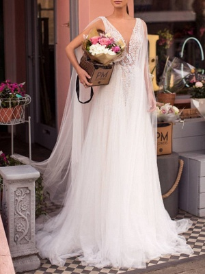 A-Line Wedding Dresses V Neck Sweep \ Brush Train Lace Tulle Regular Straps Casual Beach Sexy See-Through Backless Cape_3