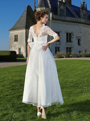 A-Line Wedding Dresses V Neck Ankle Length Organza Sheer Lace Half Sleeve Country Casual Vintage See-Through Illusion Sleeve_4
