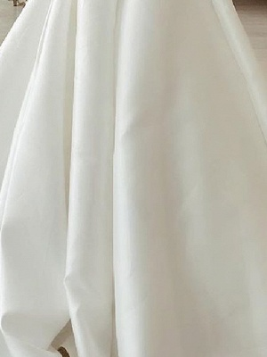 A-Line Wedding Dresses Strapless Sweep \ Brush Train Stretch Satin Sleeveless Country Plus Size_3
