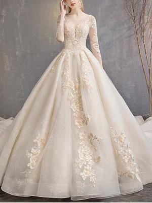 A-Line Wedding Dresses Jewel Neck Floor Length Lace Tulle 3\4 Length Sleeve Casual Plus Size Illusion Sleeve_1