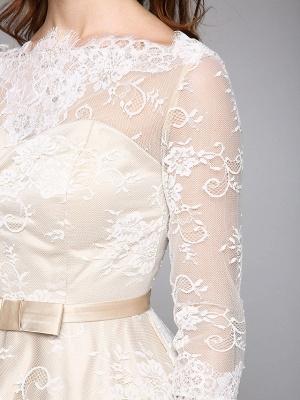 A-Line Wedding Dresses Bateau Neck Ankle Length Lace Over Satin 3\4 Length Sleeve Casual Boho See-Through Cute Illusion Sleeve_10