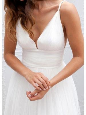 A-Line Wedding Dresses Spaghetti Strap Plunging Neck Floor Length Taffeta Tulle Chiffon Over Satin Sleeveless Country Plus Size_3