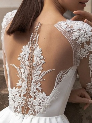 A-Line Wedding Dresses Jewel Neck Sweep \ Brush Train Lace Satin Long Sleeve Simple Sexy See-Through_2