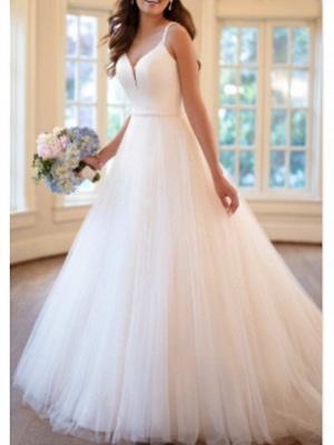A-Line Wedding Dresses V Neck Sweep \ Brush Train Tulle Charmeuse Spaghetti Strap_1