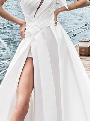 A-Line Wedding Dresses One Shoulder Sweep \ Brush Train Satin Sleeveless Sexy_3