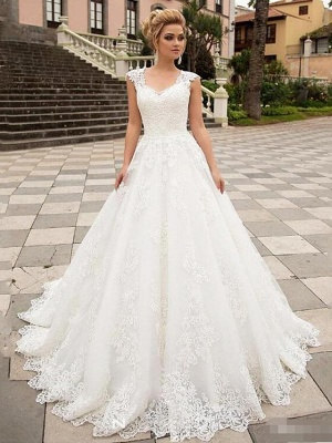 A-Line Wedding Dresses V Neck Sweep \ Brush Train Lace Tulle Strapless Country_1