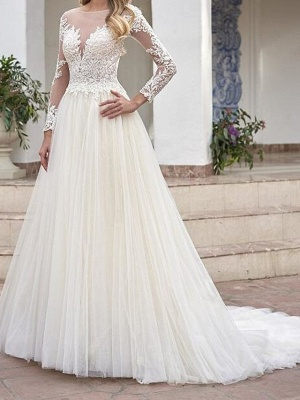 A-Line Wedding Dresses Jewel Neck Sweep \ Brush Train Lace Tulle Long Sleeve Country See-Through Plus Size_1