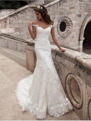 Mermaid \ Trumpet Wedding Dresses Off Shoulder Court Train Lace Tulle Lace Over Satin Short Sleeve Illusion Detail Backless_2