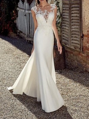 Mermaid \ Trumpet Wedding Dresses Jewel Neck Sweep \ Brush Train Chiffon Cap Sleeve Illusion Detail Backless_2