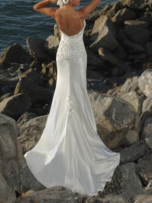 Mermaid \ Trumpet Wedding Dresses V Neck Sweep \ Brush Train Lace Sleeveless Formal Beach_2