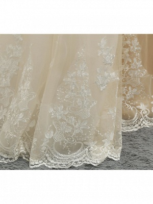 Mermaid \ Trumpet Jewel Neck Chapel Train Lace Tulle Lace Over Satin Regular Straps Formal See-Through Wedding Dresses_10