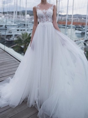 A-Line Wedding Dresses Scoop Neck Sweep \ Brush Train Polyester Sleeveless Country Plus Size_1