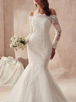Mermaid \ Trumpet Wedding Dresses Off Shoulder Sweep \ Brush Train Tulle Regular Straps Illusion Sleeve_2