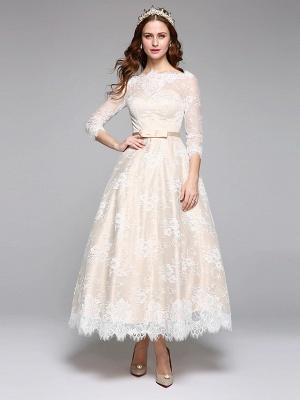 A-Line Wedding Dresses Bateau Neck Ankle Length Lace Over Satin 3\4 Length Sleeve Casual Boho See-Through Cute Illusion Sleeve_1