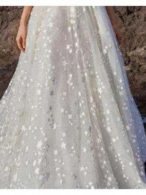 A-Line V Neck Floor Length Chiffon Tulle Regular Straps Boho Wedding Dresses_2