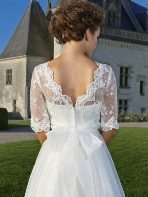 A-Line Wedding Dresses V Neck Ankle Length Organza Sheer Lace Half Sleeve Country Casual Vintage See-Through Illusion Sleeve_6