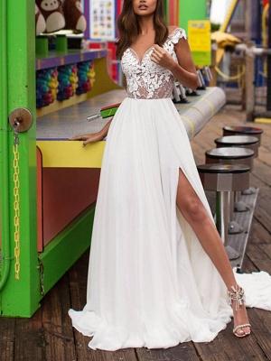A-Line Wedding Dresses V Neck Sweep \ Brush Train Lace Satin Cap Sleeve Boho Plus Size_1