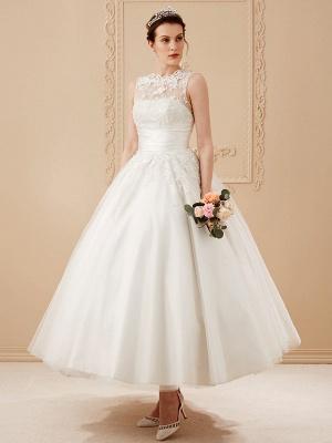 A-Line Wedding Dresses High Neck Ankle Length Lace Over Tulle Regular Straps Vintage Little White Dress Illusion Detail_11