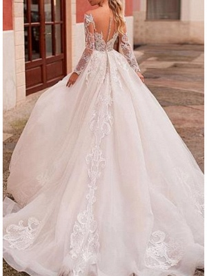 A-Line V Neck Court Train Lace Organza Long Sleeve Romantic See-Through Backless Illusion Sleeve Wedding Dresses_2