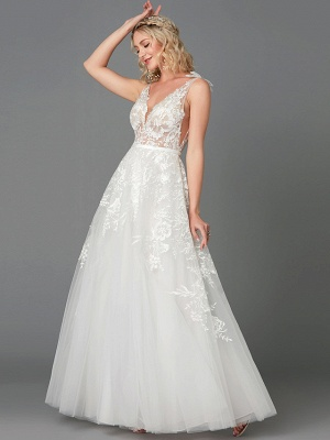 A-Line Wedding Dresses Plunging Neck Floor Length Lace Tulle Sleeveless See-Through_1