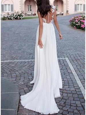 A-Line Wedding Dresses V Neck Sweep \ Brush Train Chiffon Lace Cap Sleeve Backless Illusion Sleeve_2