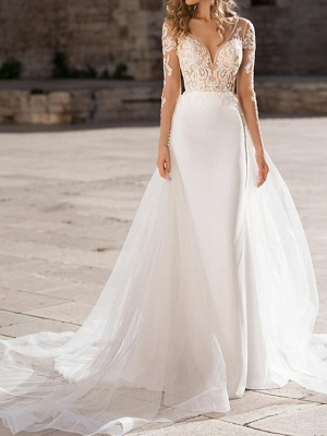 Sheath \ Column Plunging Neck Sweep \ Brush Train Polyester Long Sleeve Country Plus Size Wedding Dresses_1