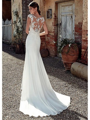 A-Line Wedding Dresses Bateau Neck Court Train Chiffon Lace Tulle Cap Sleeve Illusion Detail Backless_2