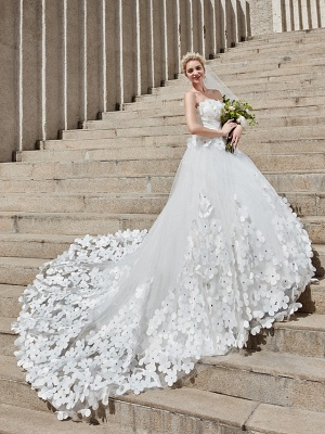 Ball Gown Wedding Dresses Strapless Court Train Tulle Strapless Country Glamorous Plus Size_7