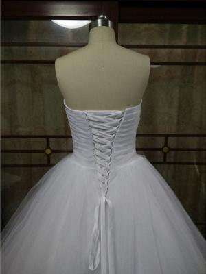 Ball Gown Wedding Dresses Strapless Court Train Tulle Strapless Formal Little White Dress_4