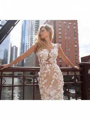 Mermaid \ Trumpet Jewel Neck Chapel Train Lace Tulle Regular Straps Illusion Detail Backless Wedding Dresses_3