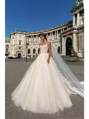 Ball Gown Sweetheart Neckline Chapel Train Lace Tulle Spaghetti Strap Wedding Dresses_2