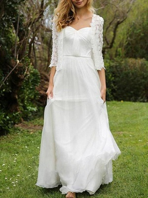 A-Line Wedding Dresses Sweetheart Neckline Floor Length Chiffon Lace Half Sleeve Simple Beach Cape_1