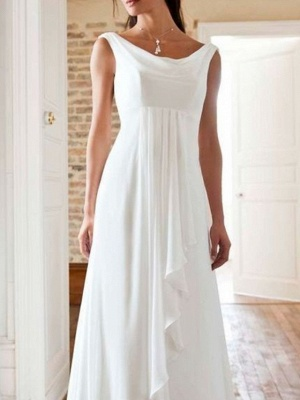 A-Line Wedding Dresses Jewel Neck Sweep \ Brush Train Chiffon Sleeveless Beach_2