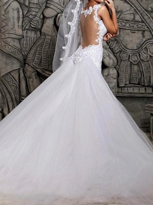 Mermaid \ Trumpet Wedding Dresses Spaghetti Strap Court Train Polyester Sleeveless Country Plus Size_2