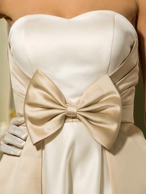 A-Line Wedding Dresses Sweetheart Neckline Tea Length Satin Strapless Casual Vintage Little White Dress Plus Size_8