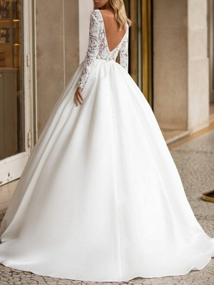A-Line Wedding Dresses V Neck Sweep \ Brush Train Lace Satin Long Sleeve Plus Size_3