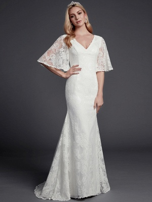 Mermaid \ Trumpet Wedding Dresses V Neck Sweep \ Brush Train Lace Half Sleeve Beautiful Back_1