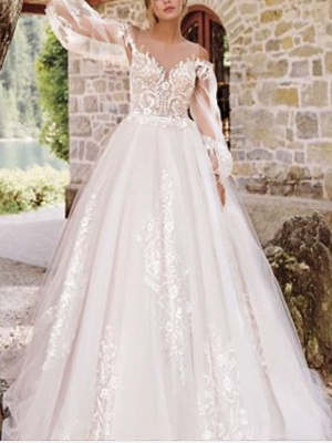 A-Line Wedding Dresses Jewel Neck Floor Length Lace Tulle Long Sleeve Formal See-Through_1