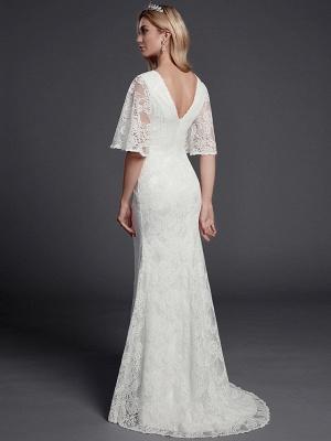 Mermaid \ Trumpet Wedding Dresses V Neck Sweep \ Brush Train Lace Half Sleeve Beautiful Back_2