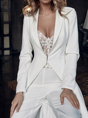 Two Piece Jumpsuits Wedding Dresses V Neck Sweep \ Brush Train Stretch Satin Long Sleeve Country Plus Size_2