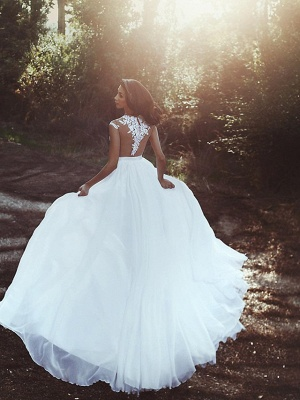 A-Line Wedding Dresses V Neck Court Train Chiffon Lace Cap Sleeve Country Romantic Sexy See-Through Backless_3