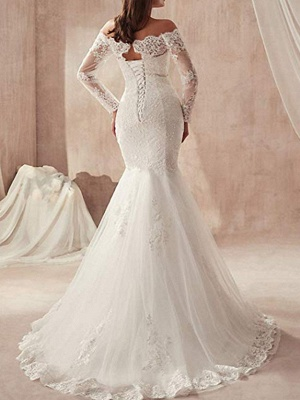 Mermaid \ Trumpet Wedding Dresses Off Shoulder Sweep \ Brush Train Tulle Regular Straps Illusion Sleeve_4