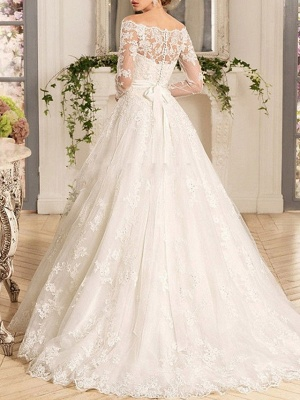 A-Line Wedding Dresses Off Shoulder Sweep \ Brush Train Tulle Regular Straps Illusion Sleeve_3