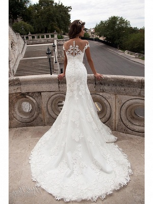 Mermaid \ Trumpet Wedding Dresses Off Shoulder Court Train Lace Tulle Lace Over Satin Short Sleeve Illusion Detail Backless_3