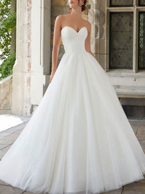 A-Line Wedding Dresses Strapless Sweep \ Brush Train Tulle Sleeveless Simple_1