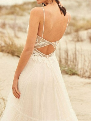 A-Line Wedding Dresses V Neck Sweep \ Brush Train Lace Tulle Spaghetti Strap Illusion Detail Backless_3