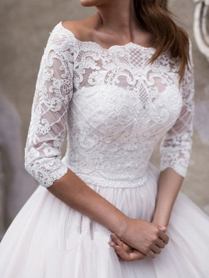 A-Line Off Shoulder Court Train Lace Tulle 3\4 Length Sleeve Country Plus Size Wedding Dresses_4